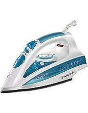 Russell Hobbs 20562-56 - SteamGlide Professional - Plancha de Ropa de Vapor, 2600 W, Suela de Cerámica, 0.3 litros, Acero inoxidable, Blanco y Azul