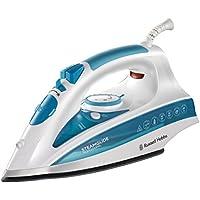 Russell Hobbs SteamGlide Professional 20562-56 - Plancha de Ropa de Vapor, 2600 W, Suela de Cerámica, 0.3 litros, Acero inoxidable, Blanco y Azul