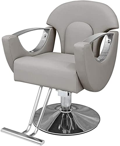 JYHJ Taburete de bar, silla de peluquería, silla de peluquería con bomba hidráulica para corte de pelo, silla giratoria, muebles de salón de belleza, rosa (color: negro) (color: gris)
