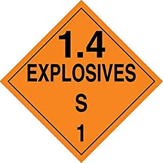 Pf-Cardstock Hazard Class 1/Division 4S Dot Placard,1.4 Explosives S 1 Safety Sign, Funny Warning Stickers,Self Adhesive Vinyl,Safety Sign Label Decal,10-3/4 10-3/4, Black On Orange