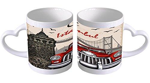 Kaffeetasse mit Herzgriff Kaffeebecher Becher Tasse Mit Fotodruck Fototasse Reisen Küche Istanbul Herz Griff