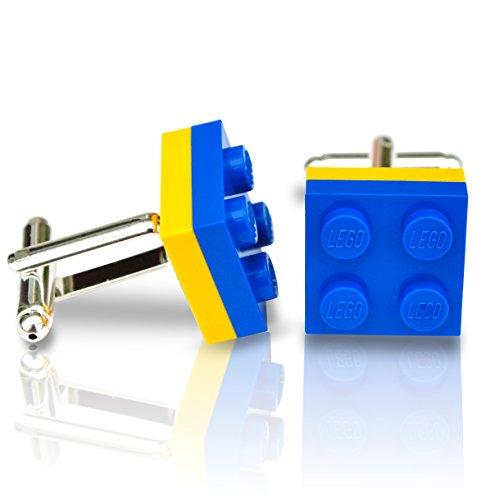 Gemelos hechos mano Lego® Platos Azul Amarillo Boda