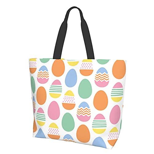 Grande borsa a tracolla resistente all'acqua uova di Pasqua felici per palestra spiaggia viaggi borse quotidiane