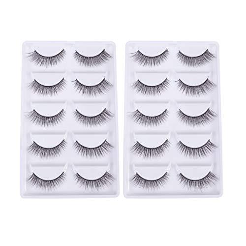 10 Pair Three Dimensional Makeup False Eyelashes Long Fake Eyelashes Cross Winged False Eyelashes for Woman Girl (5 Pair One Box 2 Boxes in Total 3D-08)