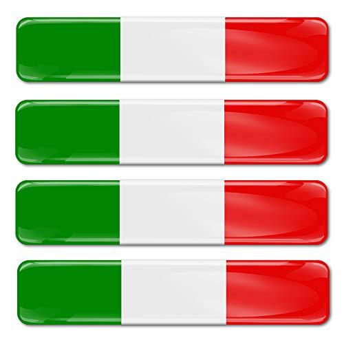 SkinoEu® 4 x Aufkleber 3D Gel Silikon Stickers Italien Flagge Autoaufkleber Italy Flag Fahne F 13