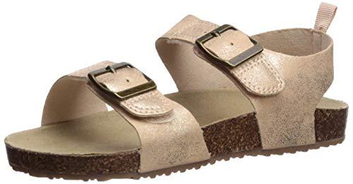 carter's Girl's Duncan Metallic Buckle Strap Sandal, Silver, 11 M US Little Kid