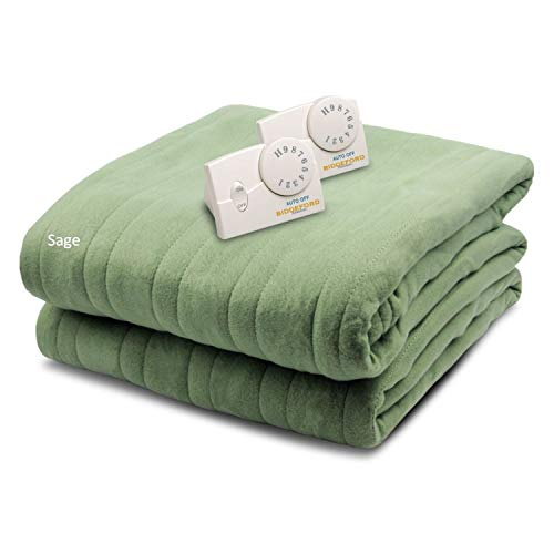 Biddeford Blankets Comfort Knit Heated Blanket, King, Sage