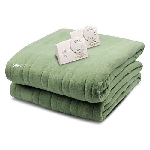 Biddeford Blankets Comfort Knit Heated Blanket, Queen, Sage