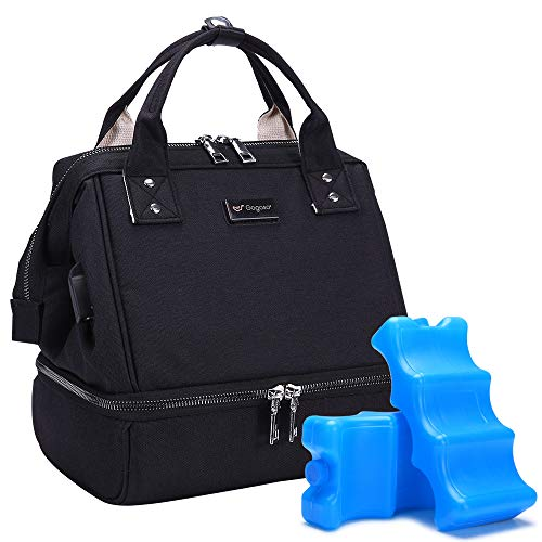 GOGOSO Black Breast Pump Bag with 2pcs Breastmilk ice Pack for Work Mom Breastfeeding and Best for Baby Shower Gifts