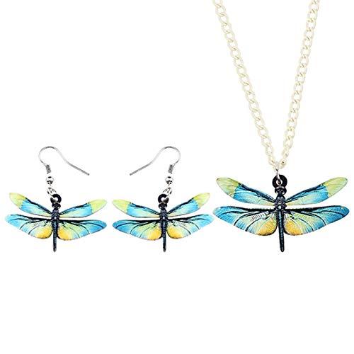 ZWwei Pendientes de acrílico con diseño de libélula, insectos, collar y collar de animales para mujeres y niñas (color: multicolor)
