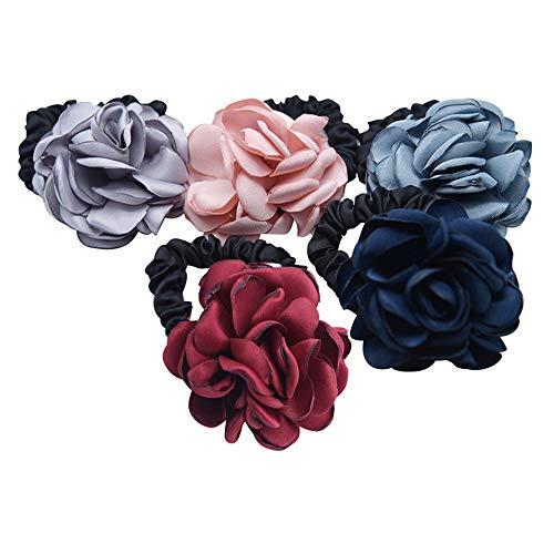 Winhappyhome - Anello elastico per capelli con rose effetto bruciato, colore rosa