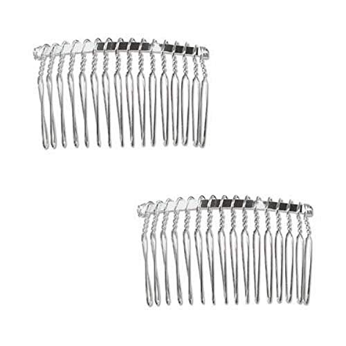 Beadaholique 2-Piece Fancy Hair Combs with Fun Craft Beading Project, 1-1/4-Inch, Silver