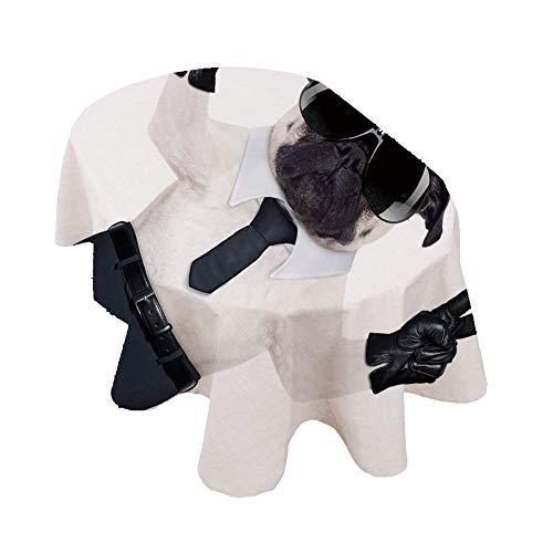 Mantel ovalado con diseño de carlino con ambas patas y gafas de sol de color negro, para eventos de interior y exterior, color negro y blanco