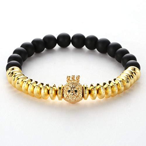 ZMMZYY Pulsera Piedra,Moda Negro Piedras pómez Brazalete de Oro Mujeres Hombres Cabeza de león Cordones Bangle Micro Inset Crown Accesorios