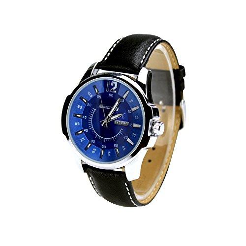 City Orkina Herren-Armbanduhr, silberfarbenes Gehäuse, Datumsanzeige, blaues Zifferblatt, Lederband, modische Armbanduhr
