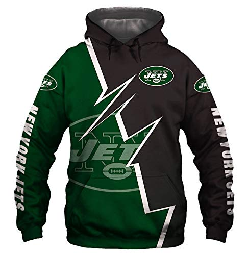FEZD Hoodie New York Jets American Football Jersey Pullover Bequemen Sweatshirt Langarm Gedrucktes Beiläufiges Sweatshirt Trainings Sweat,L