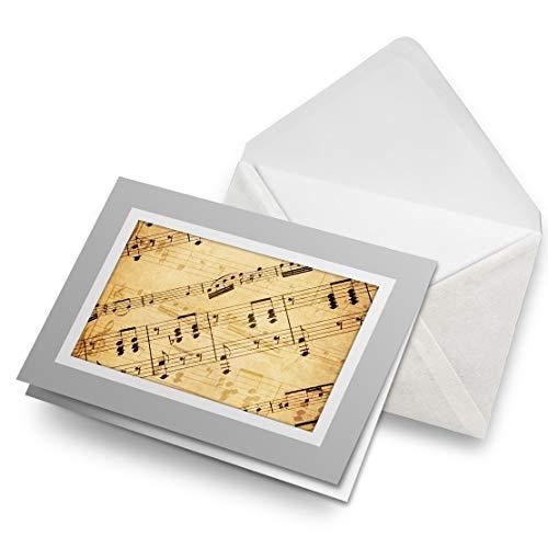 Impresionante tarjetas de felicitación gris (inserto) – Notas musicales en blanco, tarjeta de felicitación de cumpleaños para niños y niñas #3676