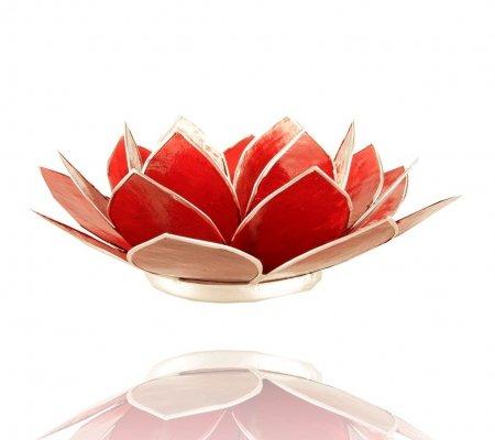 Trimontium TL12001S Teelichthalter in Form Einer dreiblättrigen Lotusblüte, Durchmesser Circa 14 cm, Capiz-Muschel, Info, Aluminium, Rot, ca. 14 x 14 x 5 cm