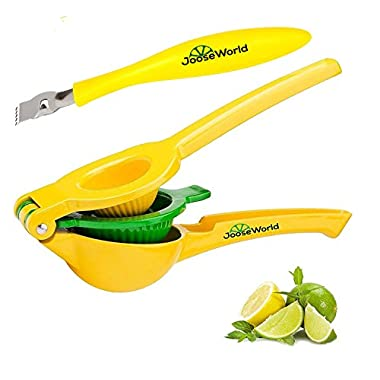 Joose World Top Rated Premium Quality Metal Lemon Lime Squeezer – 2 in 1 Manual Citrus Press Juicer, FREE Zester with every purchase!