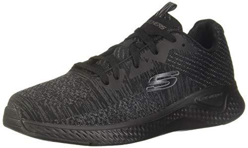 Skechers Herren SOLAR FUSE KRYZIK Sneaker, Schwarz (Black Mesh/Synthetic/Black Trim Bbk), 47.5 EU