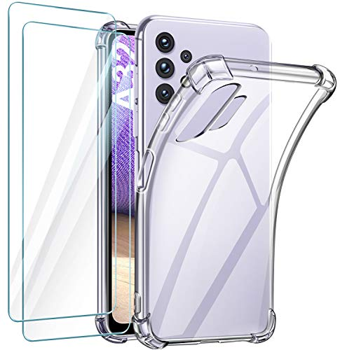 Klar Hülle Kompatibel Für Samsung Galaxy A32 5G mit 2 Stück Panzerglas Schutzfolie ,Transparent TPU Kratzfest Stoßfest Silikon Handyhülle Kompatibel mit Galaxy A32