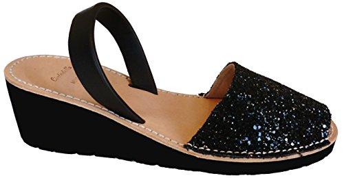 Avarcas menorquínas con tacón/cuña de 4,8 cm, Abarcas, Albarcas, Sandalias (39, Glitter Negro)