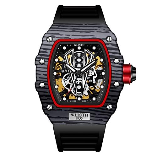 GDHJ Relojes mecánicos automáticos para Hombre, Relojes tridimensionales Huecos de Doble Cara de Moda callejera, Reloj de Pulsera Luminoso Impermeable para jóvenes Cool Dark Black