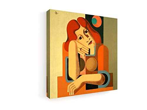 Heinrich Hoerle - Melancholisches Mädchen - 50x50 cm - Premium Leinwandbild auf Keilrahmen - Wand-Bild - Kunst, Gemälde, Foto, Bild auf Leinwand - Alte Meister/Museum
