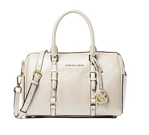 "Pebbled leather Duffle satchel Interior details: back zip and slip pockets, 6 front slip pockets Zip fastening. Exterior details: 2 side slip pockets Pale gold-tone hardware 11.25"" W X 8.75"" H X 6.25"" D. Handle drop: 3.75"". Adjustable strap: 18""-20"""