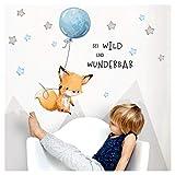 Little Deco Aufkleber Spruch sei wild & Fuchs I Wandbild M - 130 x 61 cm (BxH) I Luftballon Wandtattoo Kinderzimmer Junge Tiere Deko Babyzimmer Kinder DL316