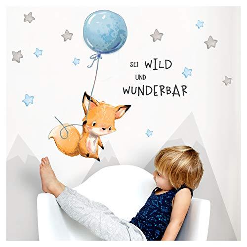 Little Deco Aufkleber Spruch sei wild & Fuchs I Wandbild L - 204 x 95 cm (BxH) I Luftballon Wandtattoo Kinderzimmer Junge Tiere Deko Babyzimmer Kinder DL316