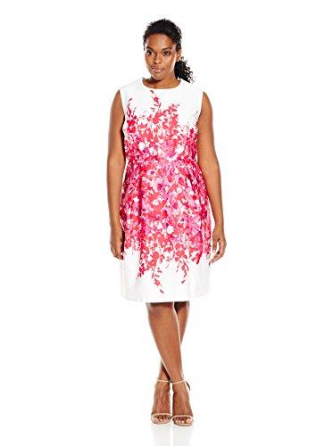 Sandra Darren Women's Plus-Size 1 Pc Extended Shoulder Floral Cotton Sateen Dress, Fuchsia/Ivory