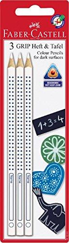 Faber-Castell 113211 - Buntstift Grip, für Heft und Tafel, 3-er, weiß
