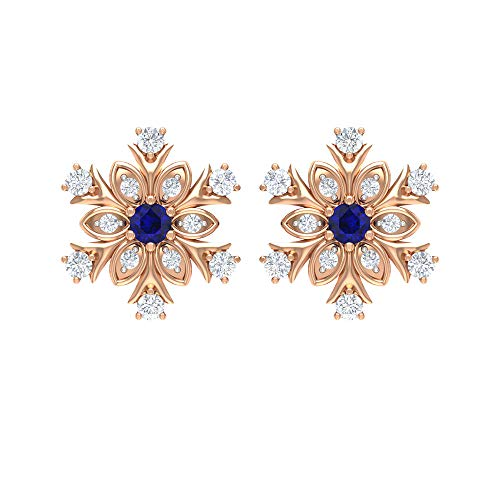 1/4 CT Blue Sapphire and Diamond Earrings, Snowflake Earrings, Statement Jewelry for Women, 14K Rose Gold, Pair