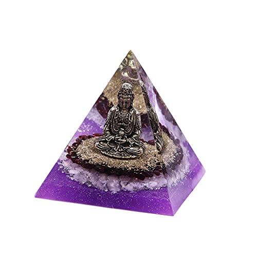 SM SunniMix 8cm Decorativo Cristal orgón pirámide Buda figuritas Oficina meditación generación de energía Positiva decoración