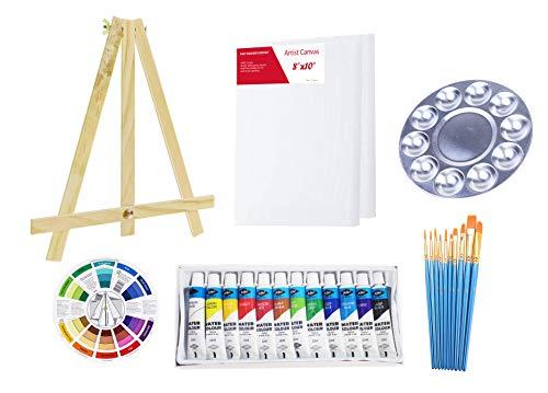 S & E TEACHER'S EDITION Watercolor Painting Set of 27Pcs, Mini Table Easel, Canvas, Brushes, Palette.