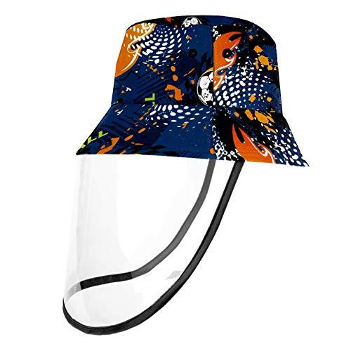 Tizorax abnehmbarer Sonnenhut, UV-Schutz, Fischerhut, Sommerhut für Männer und Frauen – Feuer Fußball Gr. S/M, mehrfarbig
