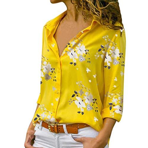 Camicetta Pullover Top Camicia Donna Taglie Forti Stampa Scollo a V Bottone Stampato (XXL,1- Giallo)