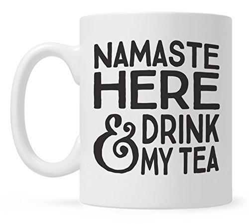 Thee Beker, Grappige Thee Mok, Namaste Hier en Drink Mijn Thee, Leuke Mokken, Cadeau voor Yoga Leraar, Yogi, Vriend, Thee Liefhebber