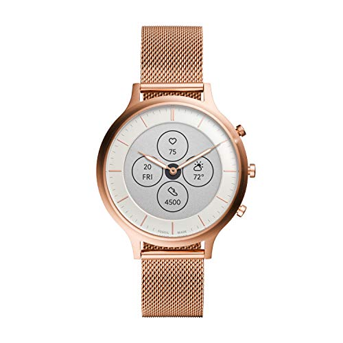 Fossil Women's Charter HR Heart Rate Stainless Steel Mesh Hybrid Smartwatch, Color: Rose Gold (FTW7014)
