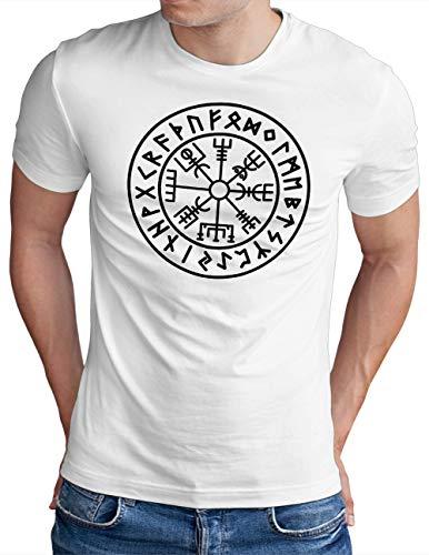 OM3® Vegvisir-Viking-Compass T-Shirt | Herren | Odin Runen Wikinger Symbol Nordic Warrior | Weiß, S