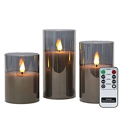 Rhytsing Grau flammenlose Kerzen im Glas, 3 Glaswindlichter mit Fernbedienung und Timerfunktion, warmweiße Licht mit Batterien enthalten