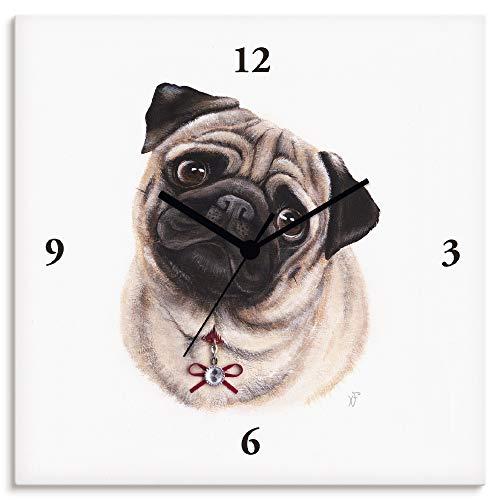 Artland Wanduhr ohne Tickgeräusche Leinwanduhr Funkuhr lautlos Quadratisch 30x30 cm Design Tiere Hund Mops Hundemotiv Weiß T5KW