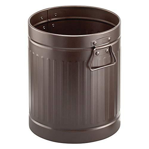 mDesign Papelera metálica para baño o aseo – Elegante cubo de basura redondo y con asas – Contenedor de residuos de diseño en metal resistente con revestimiento anticorrosión – color bronce