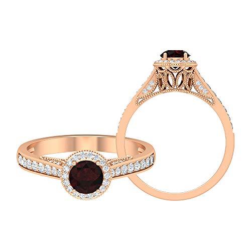 Rosec Jewels - 14 Kt Rotgold Runder Brilliantschliff Rund Leicht Getöntes Weiß/Top Crystal (I) Red Diamant Granat