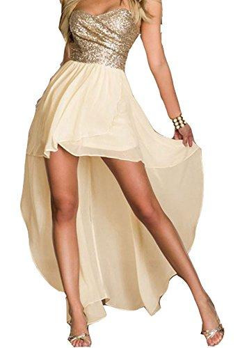 Vestiti Donna - Abiti Lunghi Ragazza - Fashion Moderno Da Discoteca Party Sera Ballo O Festa - Eleganti Per Sposa Cerimonia O Damigella (L, Beige Brillante)
