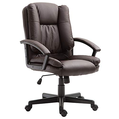 HOMCOM Swivel Executive Office Chair Mid Back Faux Leather Computer Desk Chair for Home with Double-Tier Padding, Arm, Wheels, Brown