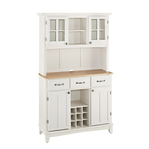 Big Sale Best Cheap Deals Home Styles 5100-0021-12 Buffet of Buffets 5001 Series Natural Wood Top Buffet Server and Hutch, White Finish
