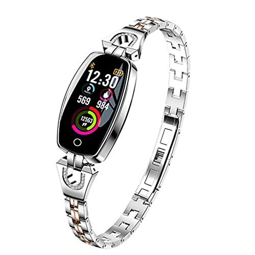 Hspcam Reloj inteligente para mujer de moda LED Frecuencia cardíaca Monitor de presión arterial podómetro Fitness Tracker impermeable reloj inteligente (Plata)