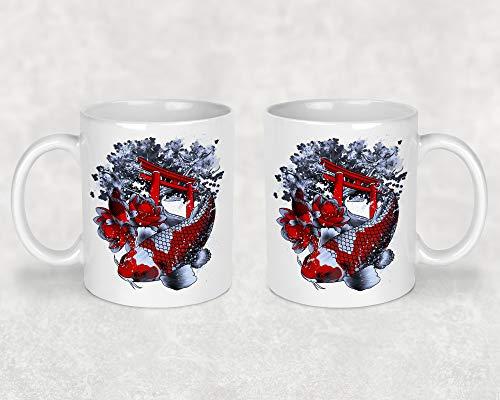 Tasse Kaffeetasse Kaffeebecher Becher Kaffee mit Asia Koi Tempel Lotus Beidseitiger Druck